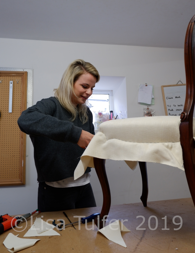 Hannah working on a balloon backed dining chair