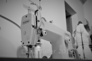 Arty black and white shot of Hannah's sewing machine