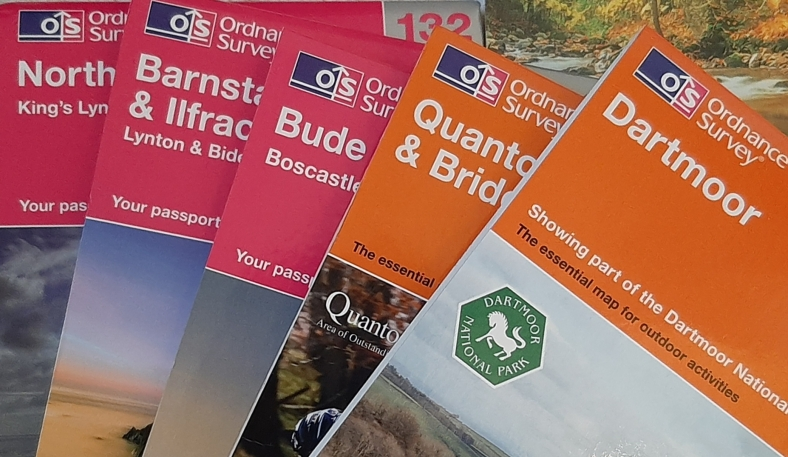 Image of a selection of Ordnance Survey maps