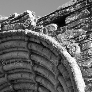 Mono photograph of detail of finial on west doorway, Strata Florida Abbey.