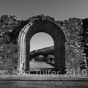 West doorway of Strata Florida Abbey. Mono photograph.