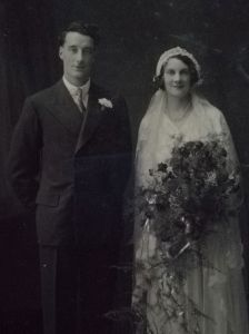 Early 20th century black and white wedding photograph