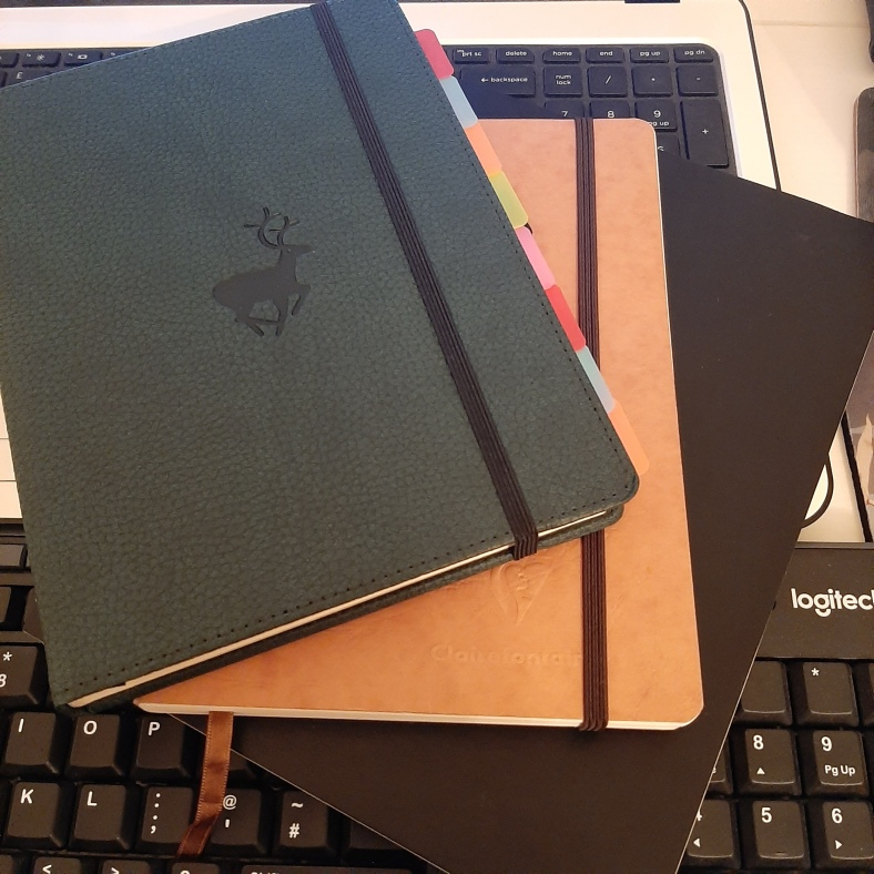 Picture of three notebooks.