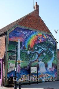 Photo of colourful mural in Glastonbury