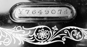 Black and white image showing the serial number of a Singer sewing machine