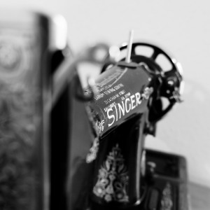 Black and white image of a Singer sewing machine