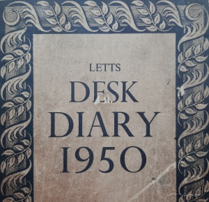Front of diary - 'Letts Desk Diary 1950'