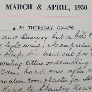 Detail of diary entry for Thursday 30 Paril 1950